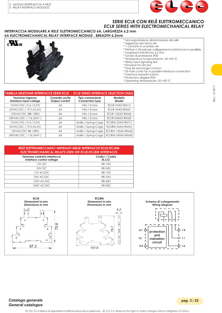 Elco Interface Modules with Electromechanical Relay - ECLR Series