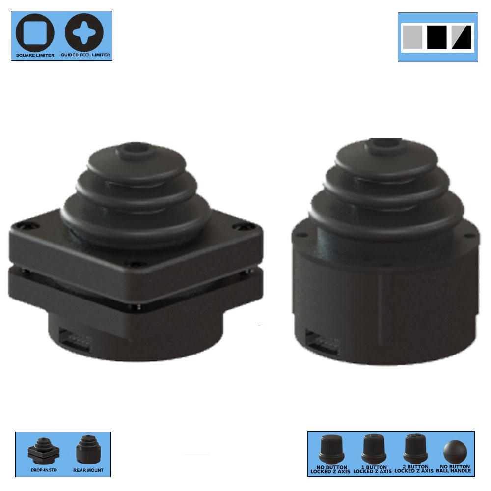 Ruffy HE3 Redundant Sensor, Fully Sealed Multi-Axis Hall Effect Joystick 2 Axis Range