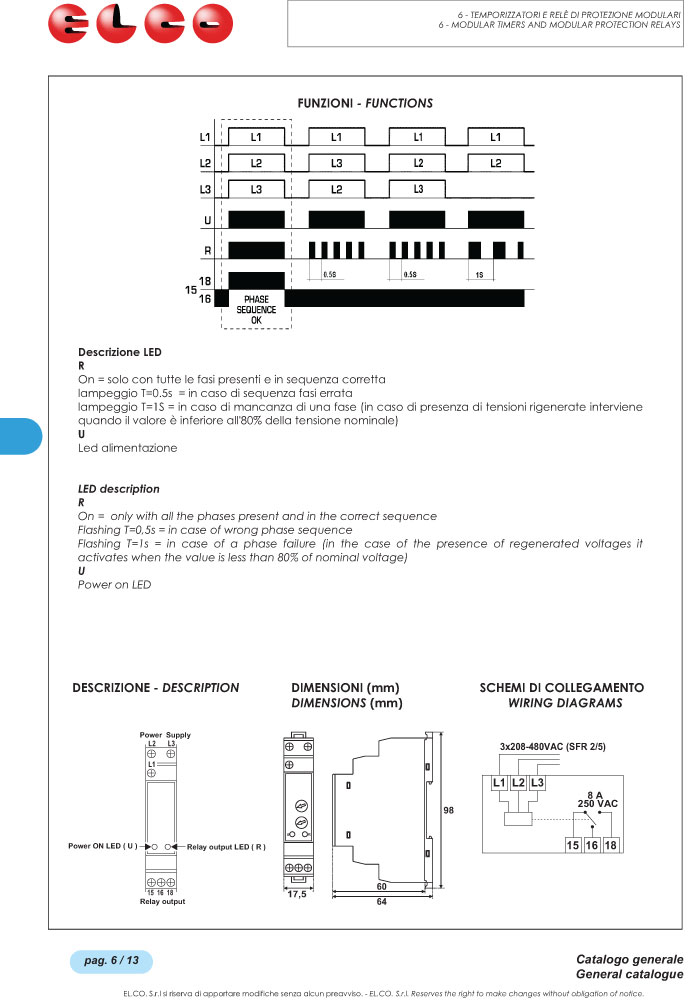 Elco Phase Sequence and Phase Failure Relay - SFR Series